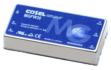 Cosel 30W Isolated DC-DC Converter Through Hole, Voltage in 18 → 76 V dc, Voltage out ±15V dc