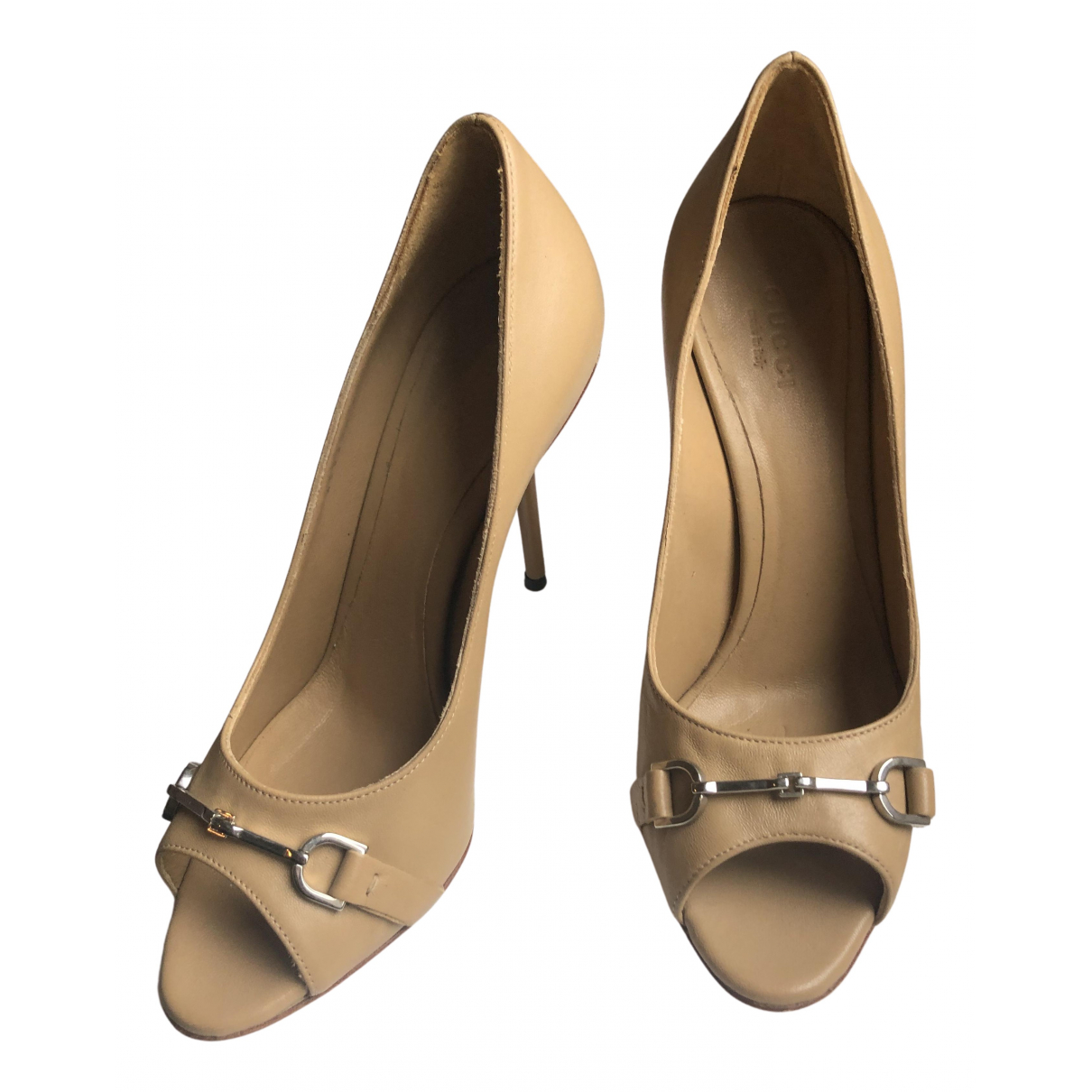 Gucci N Brown Leather Heels for Women 37.5 IT