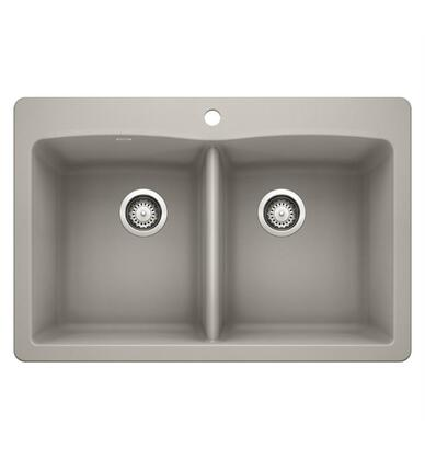 Diamond 442748 Silgranit Undermount Sink Equal Double Sink Bowl with Dual Deck  in Concrete