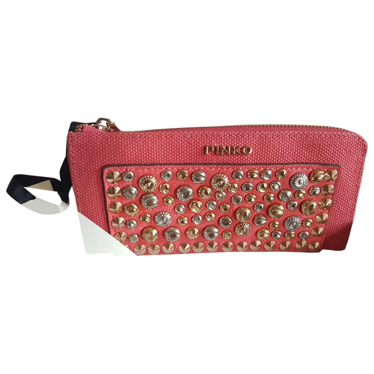 Pinko - Portefeuille   pour femme en toile - rose