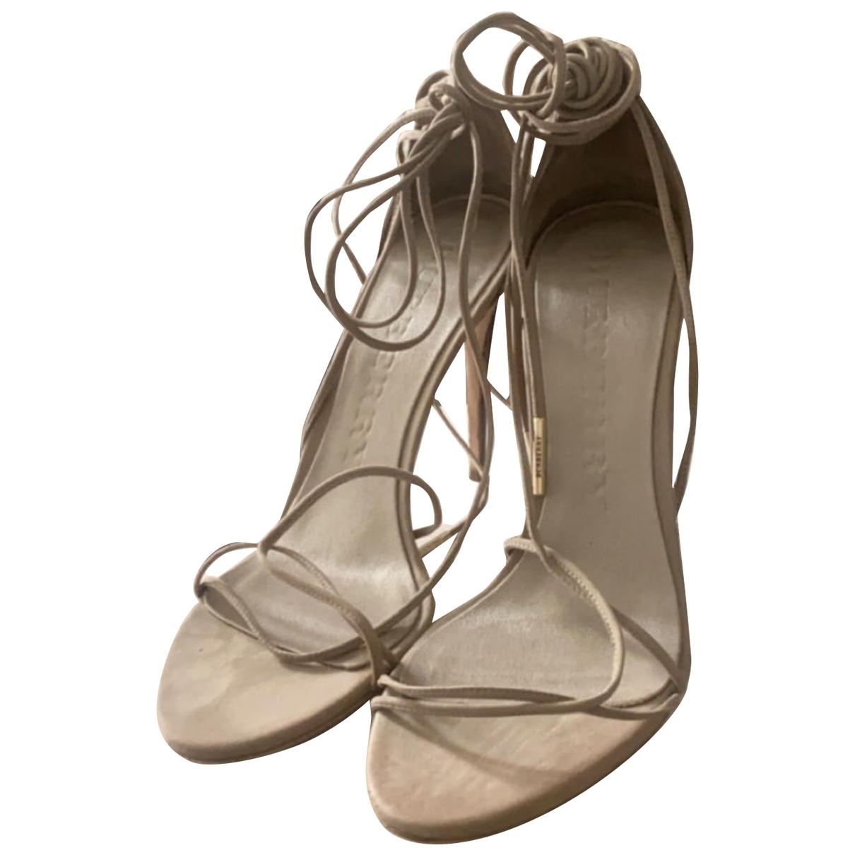 Burberry - Sandales   pour femme en suede - beige