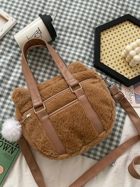 Milanoo Sweet Lolita Bag White Short Plush Shoulder Bag Lolita Accessories