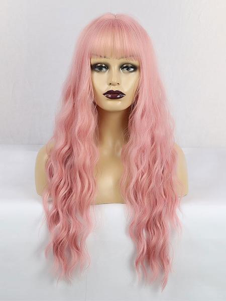 Milanoo Peluca Larga Para Mujer Rosa Con Flequillo Flequillo Rayon Chic Larga Despeinada Pelucas Sinteticas