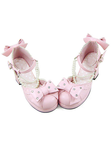 Milanoo Sweet Lolita Heels Heels Shoes Square Heels with Bows and Pearls