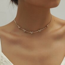 Halskette mit Strass & Schmetterling Dekor
