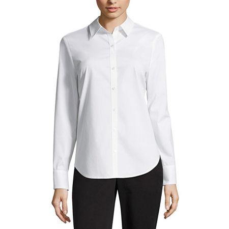 Worthington Womens Long Sleeve Modern Fit Button-Down Shirt, Large , White