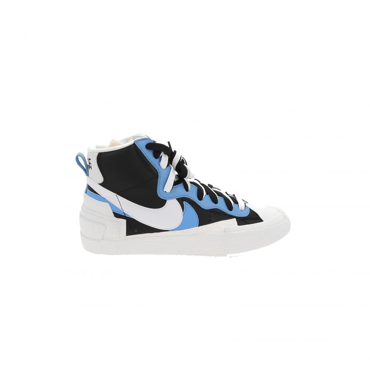 Nike X Sacai - Baskets Blazer Mid pour homme en cuir - bleu