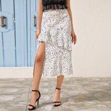 Slit Hem Ruffle Trim Dalmatian Skirt
