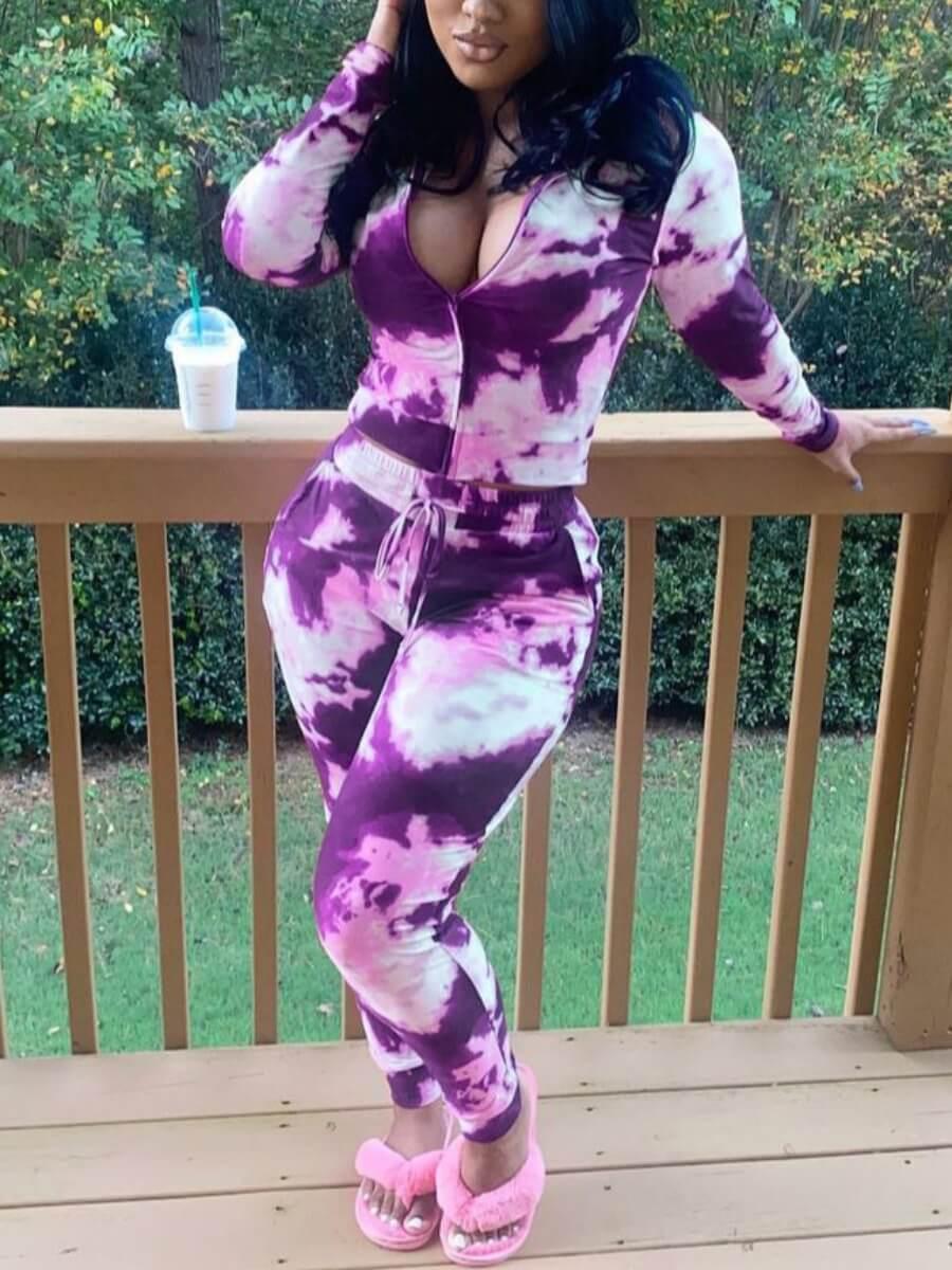 LW Lovely Casual Tie Dye Drawstring Purple Two Piece Pants Set