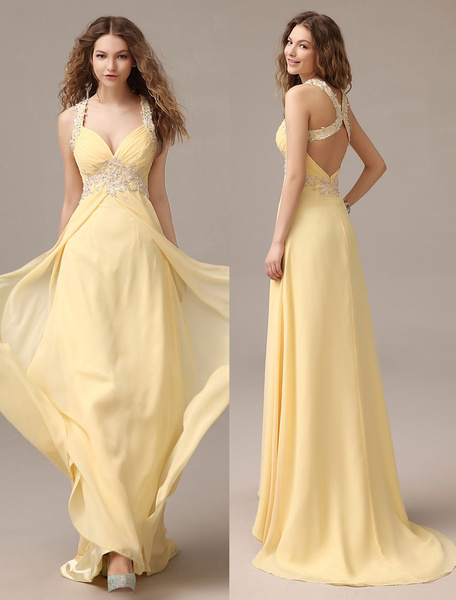Milanoo Prom Dresses Long Chiffon Daffodil Applique Beaded Evening Gown Back Design Sleeveless Formal Party Dresses With Train