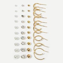 Faux Pearl & Rhinestone Stud Earrings 20pairs