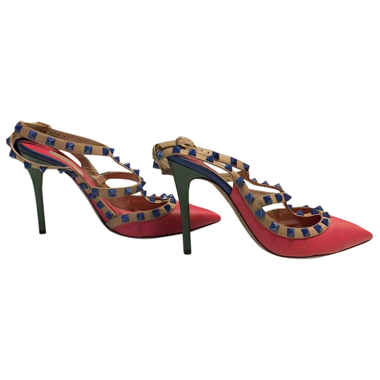 Valentino Garavani - Escarpins Rockstud pour femme en cuir - multicolore