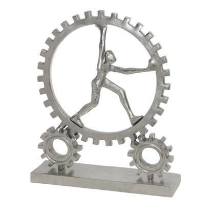 BM217205 Round Human and Gear Aluminum Figurine