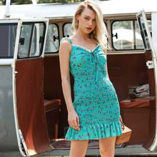 D&M Kleid mit Halsband, Spitzenbesatz und Bluemchen Muster