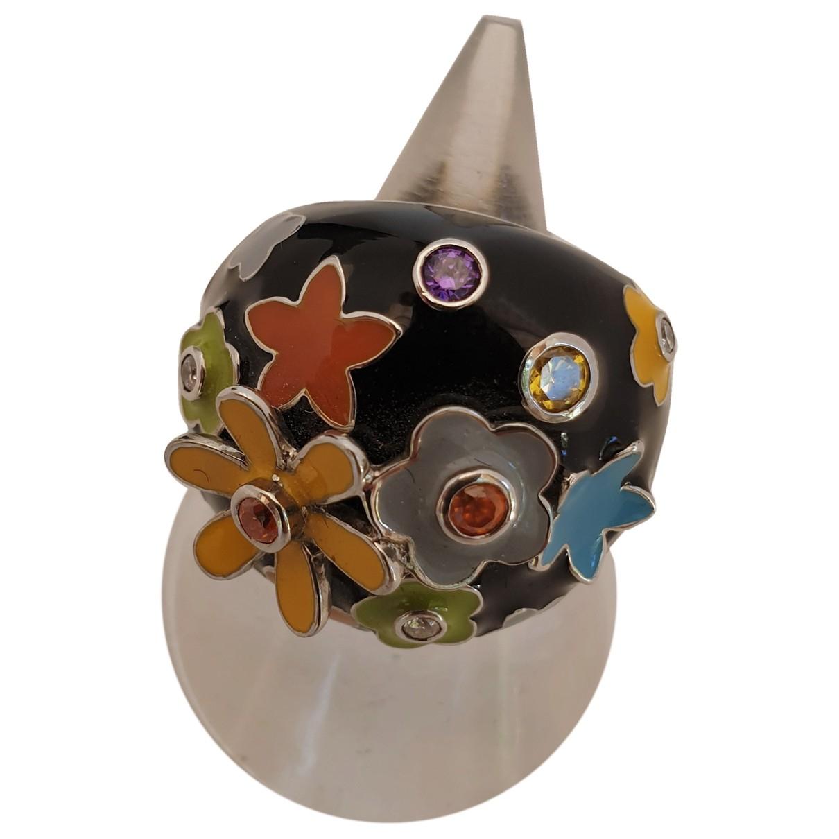 - Bague Motifs Floraux pour femme en argent - multicolore