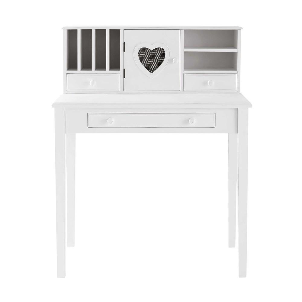 Schreibtisch-Sekretaer mit 1 Tuer und 3 Schubladen, weiss Valentine