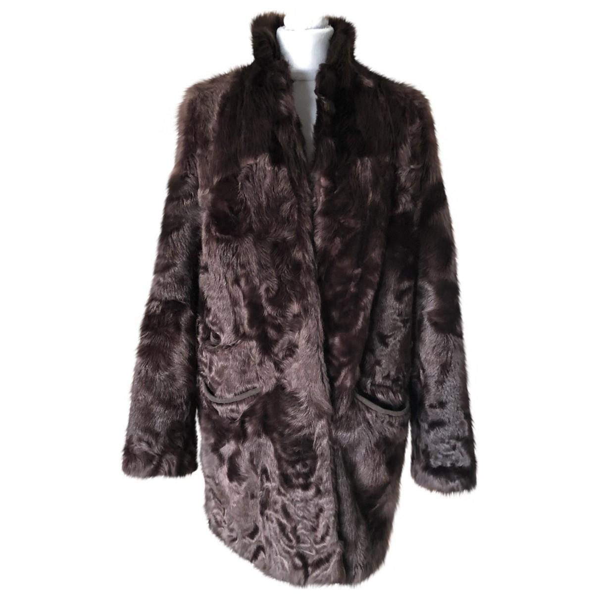 Sprung Freres - Manteau   pour femme en fourrure - marron