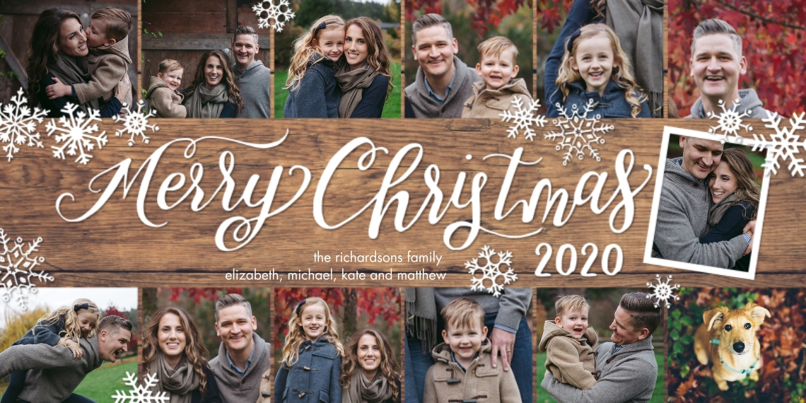 Christmas Photo Cards 4x8 Flat Card Set, 85lb, Card & Stationery -2020 Christmas Snowflakes Collage by Tumbalina