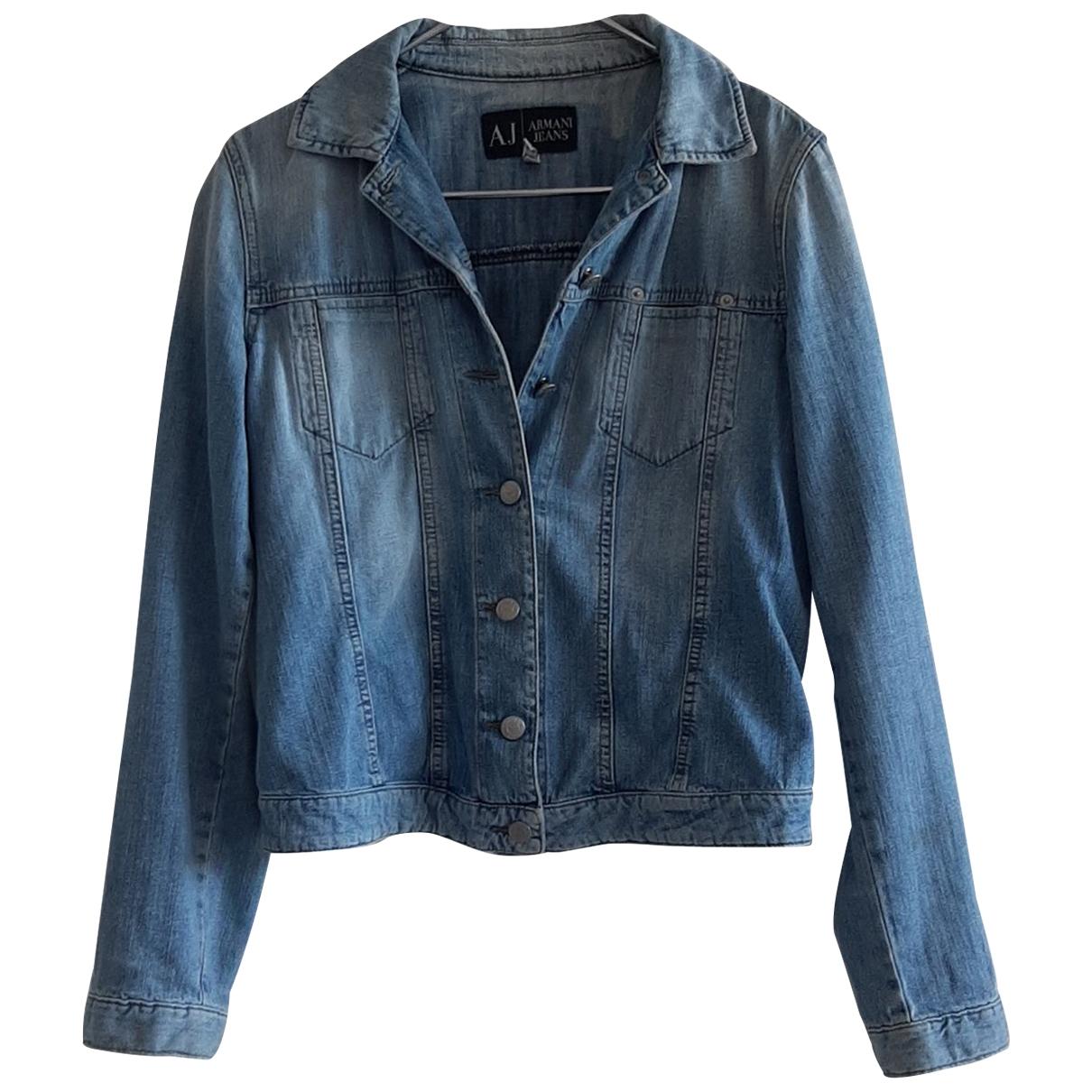 Armani Jeans \N Lederjacke in  Blau Baumwolle