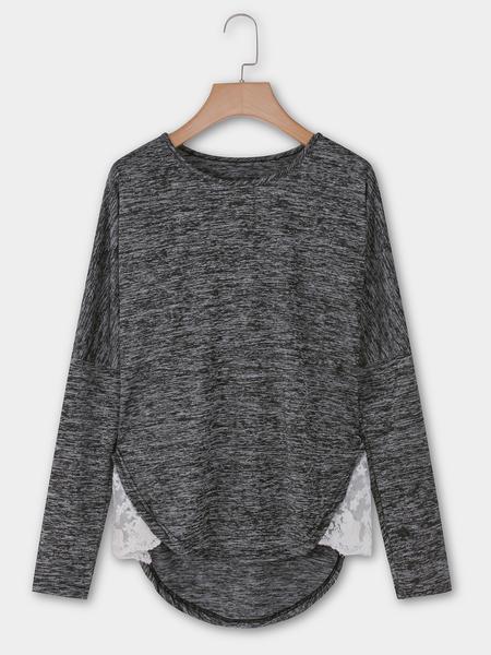 Yoins Dark Grey Round Neck Long Sleeves Stitching Hem T-shirts