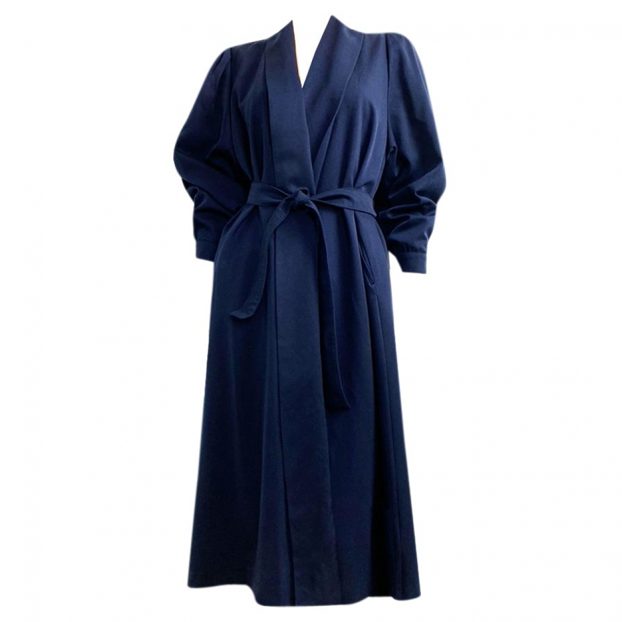 Claire Paris \N Trench in  Marine Wolle