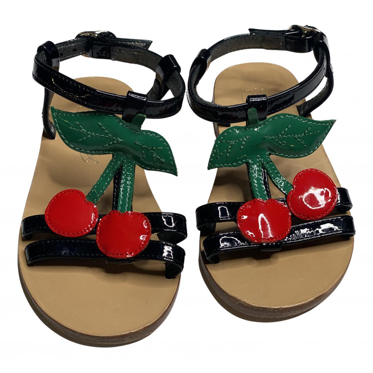 Bonpoint - Sandales   pour enfant en cuir verni - noir