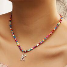 Rhinestone Letter Charm Beaded Necklace