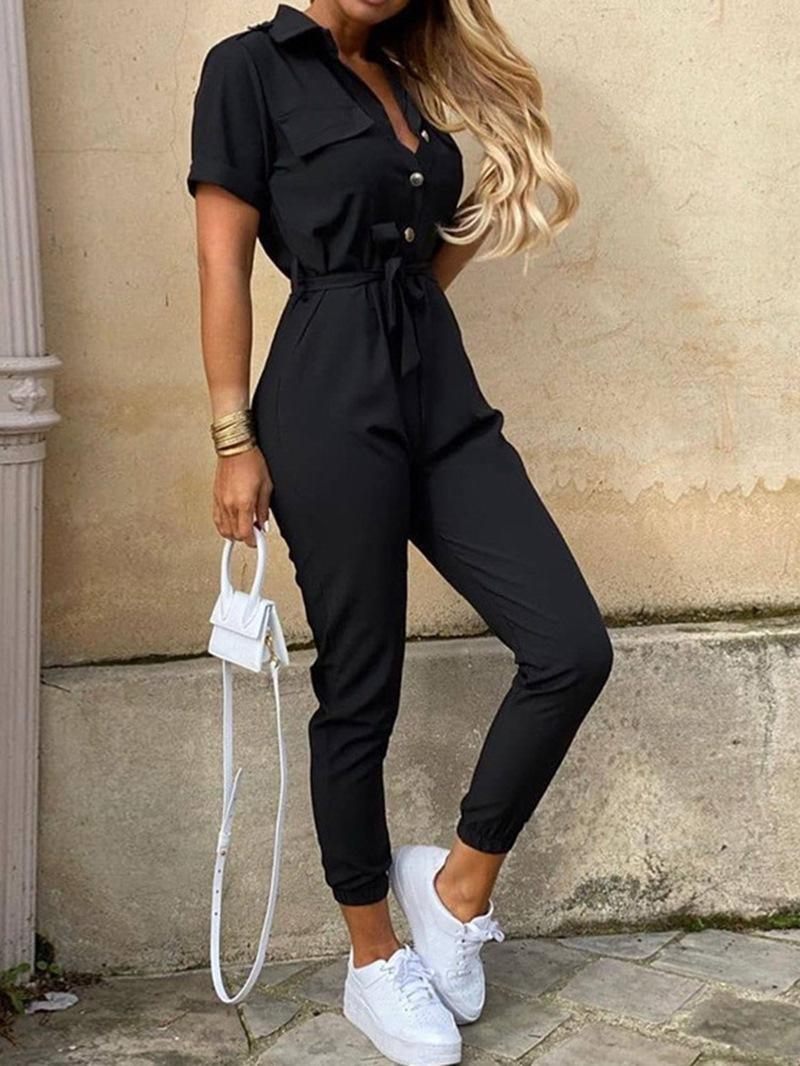 Ericdress Casual Plain Ankle Length Mid Waist Slim Jumpsuit