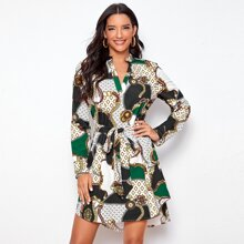 Chain & Scarf Print Belted Dress