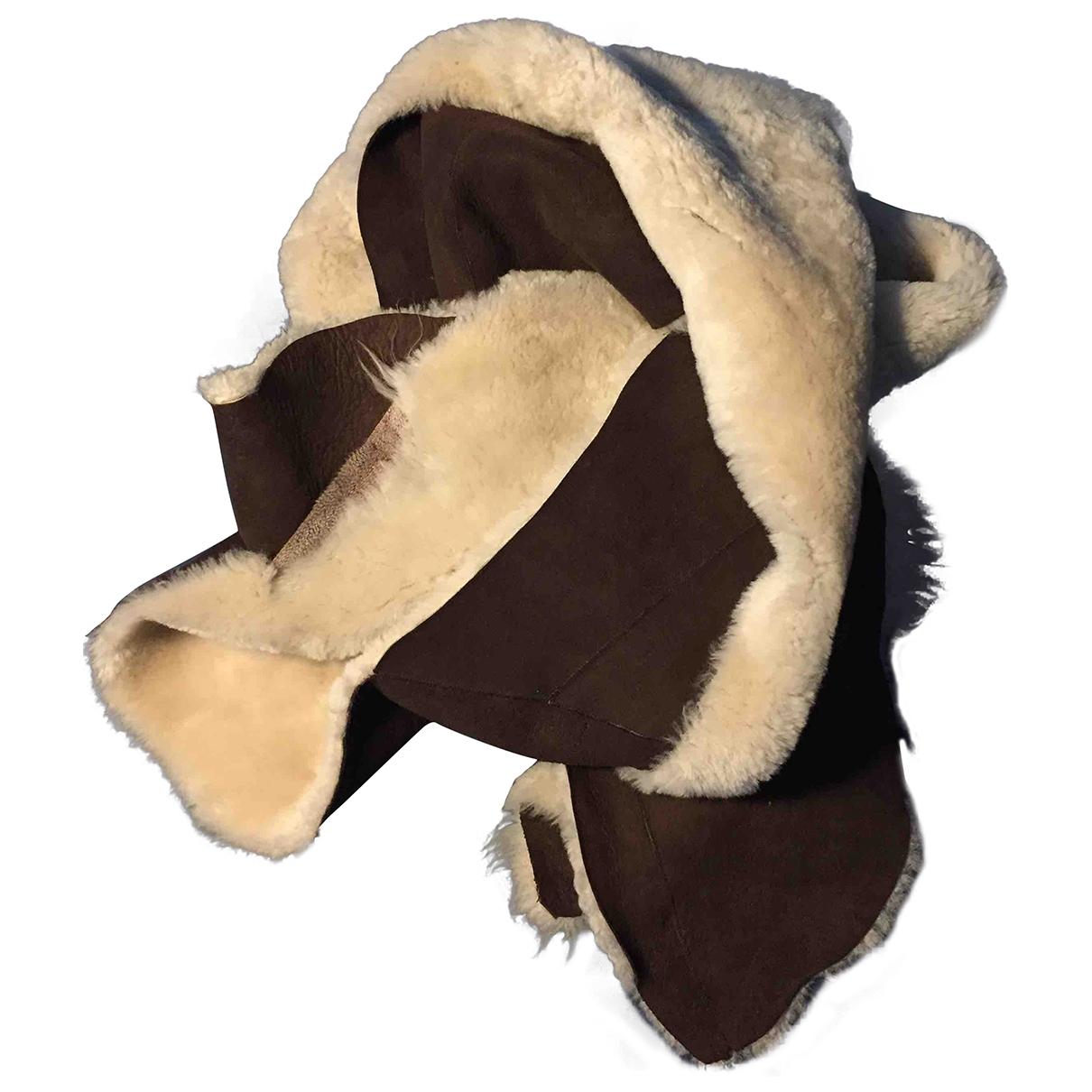 - Foulard   pour femme en fourrure - camel