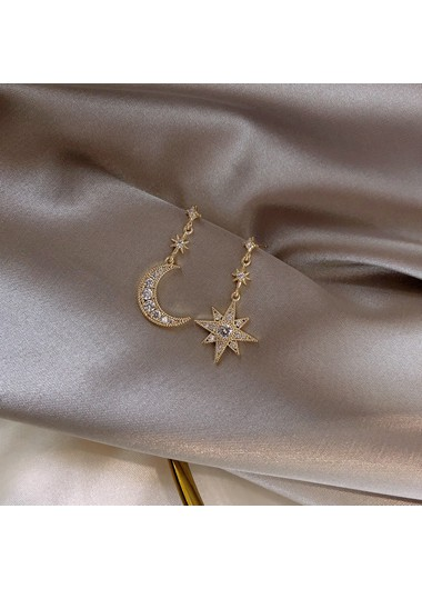 Mother's Day Gifts Gold Brown Moon and Star Shape Earrings - One Size