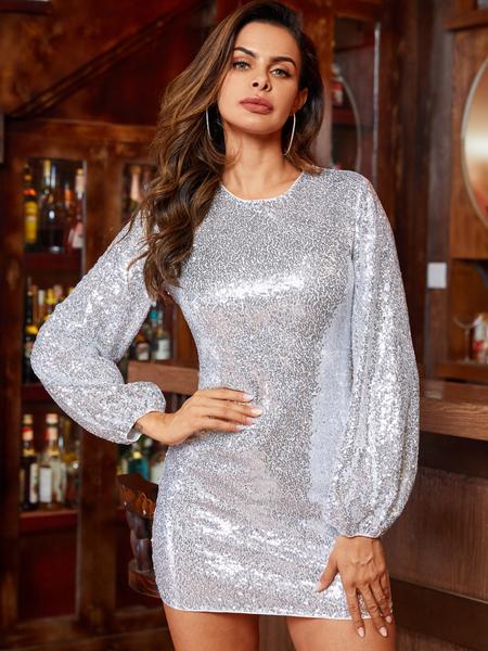 YOINS White Sequins Embellished Round Neck Dress