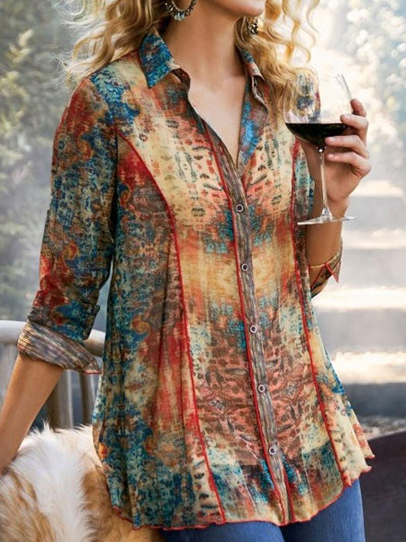 Ericdress Color Block Lapel Print Mid-Length Long Sleeve Blouse