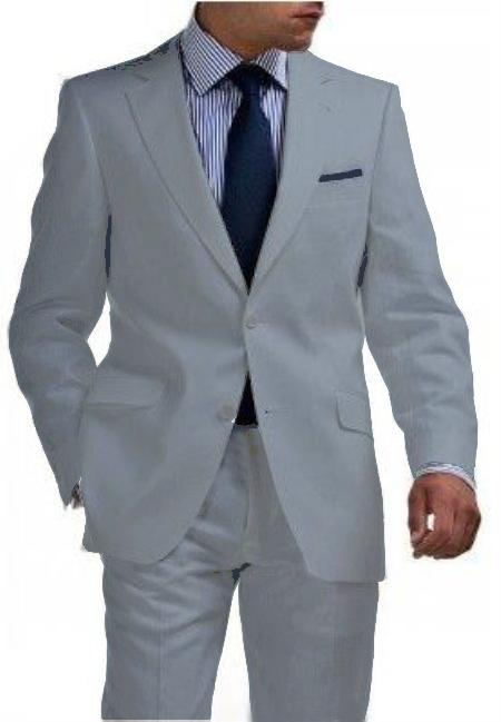 2 Btn Tapered Cut Half Lined Flat Front Linen Suit Vented Light Gray