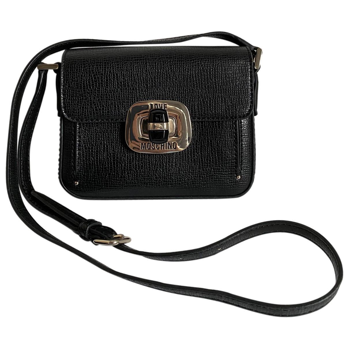 Moschino Love - Pochette   pour femme en cuir - noir