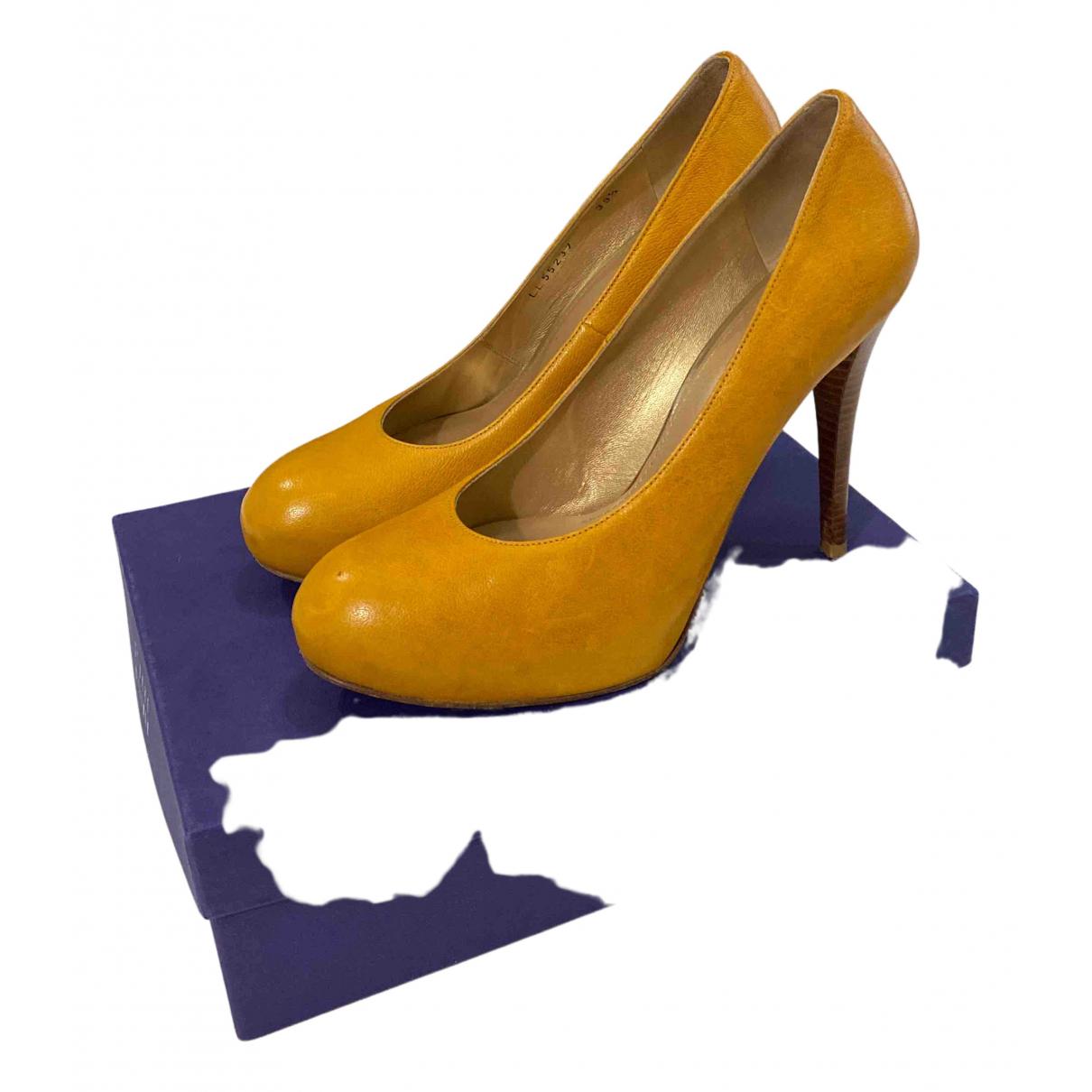 Stuart Weitzman N Yellow Leather Heels for Women 39.5 EU