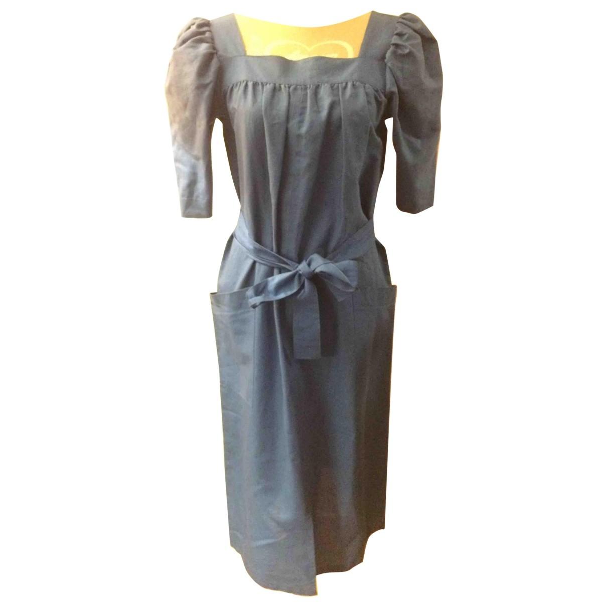 Yves Saint Laurent \N Blue Cotton dress for Women 36 FR