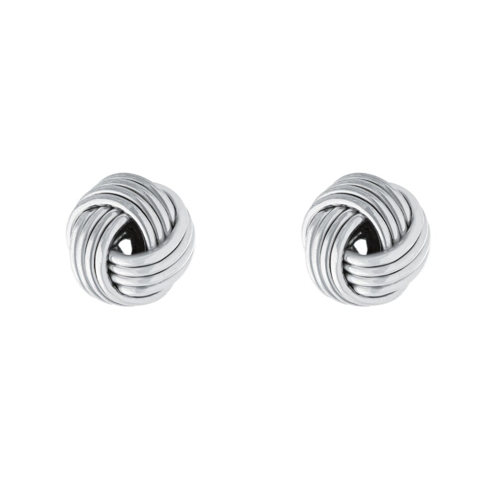 Sterling Silver Love Knot Stud Earrings (White)