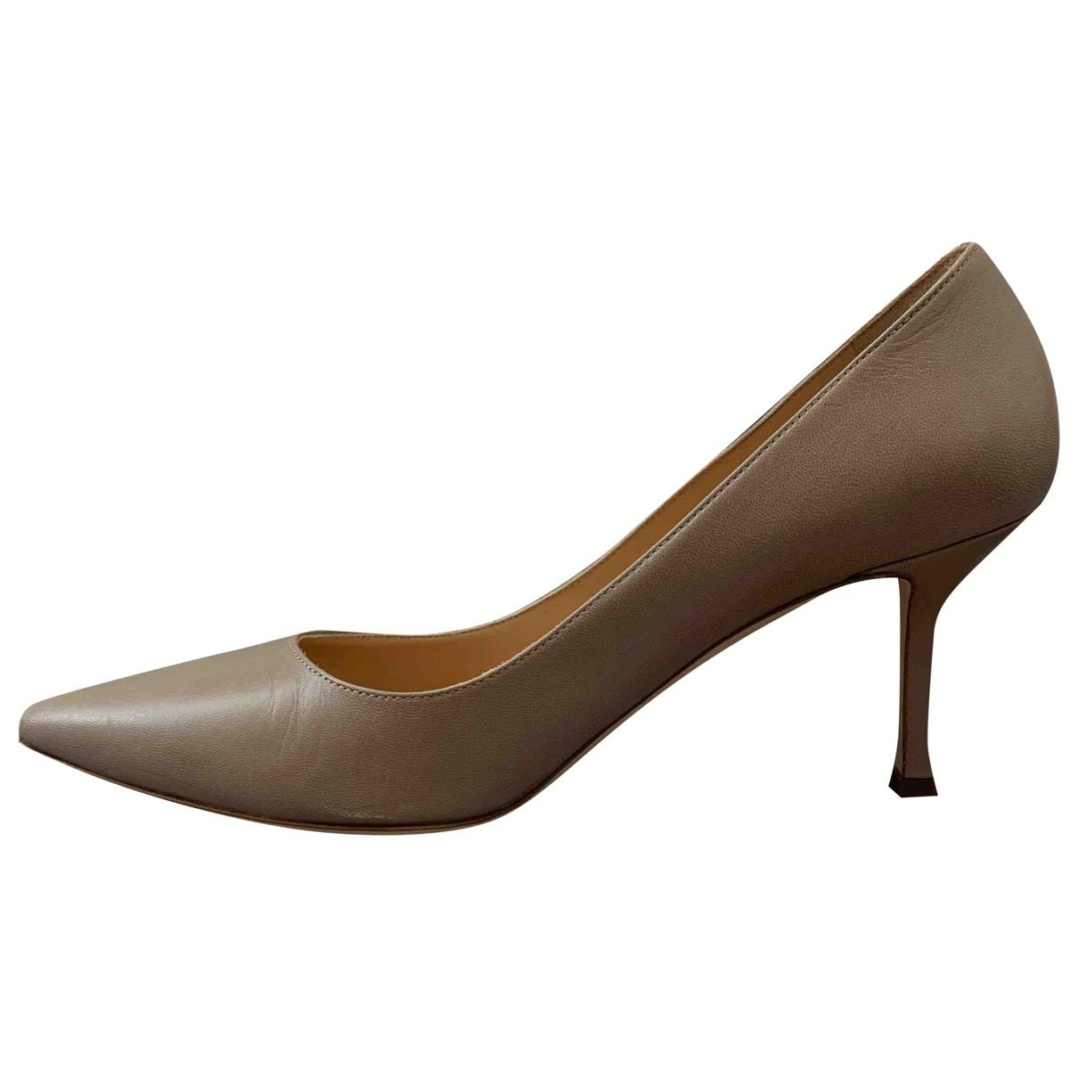 Sergio Rossi - Escarpins   pour femme en cuir - beige