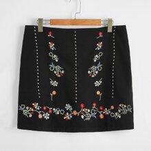 Faldas Extra Grande Bordado Floral Casual
