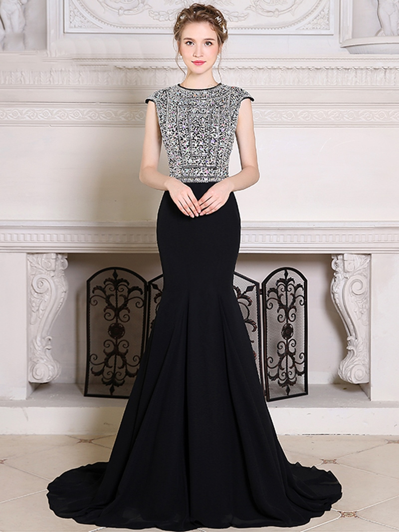 Ericdress Beaded Crystal Cap Sleeve Mermaid Evening Dress