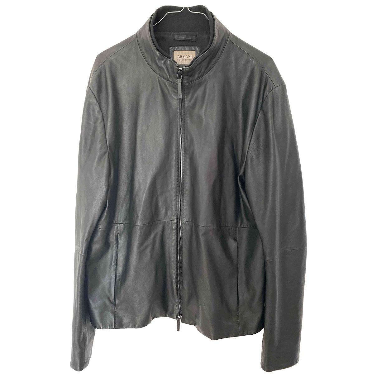 Armani Collezioni - Vestes.Blousons   pour homme en cuir - noir