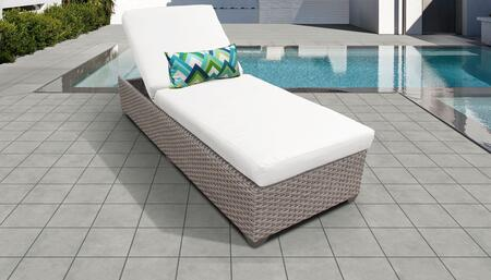 Florence Collection FLORENCE-1x-WHITE Wicker Patio Chaise - Grey and Sail White