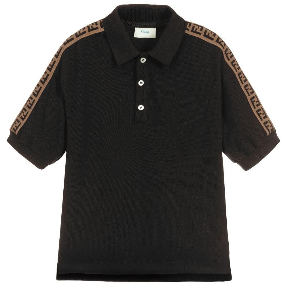 Fendi Tape Logo Polo Colour: BLACK, Size: 10 YEARS