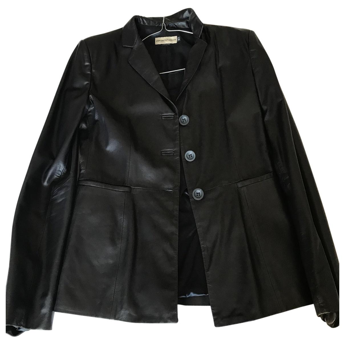 Emporio Armani \N Black Leather jacket for Women 40 IT