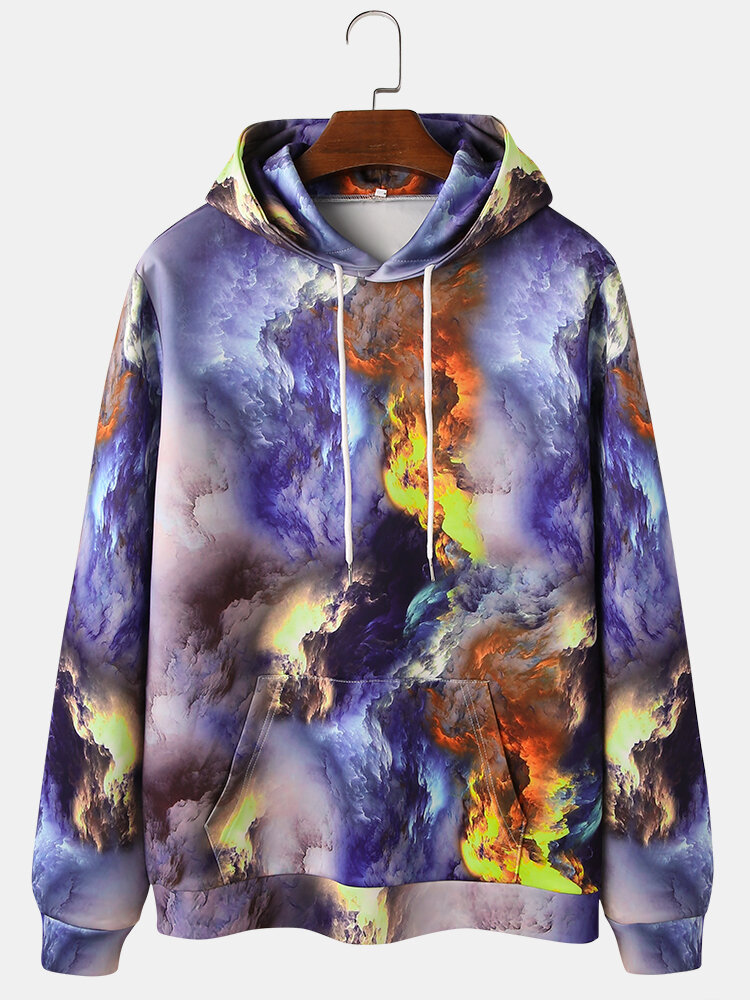 Mens All Over Gradient Printed Casual Drawstring Hoodies With Kangaroo Pocket