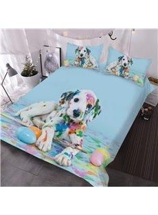 Colorful Dalmatian Dog 3D Printed 3-Piece Comforter Sets