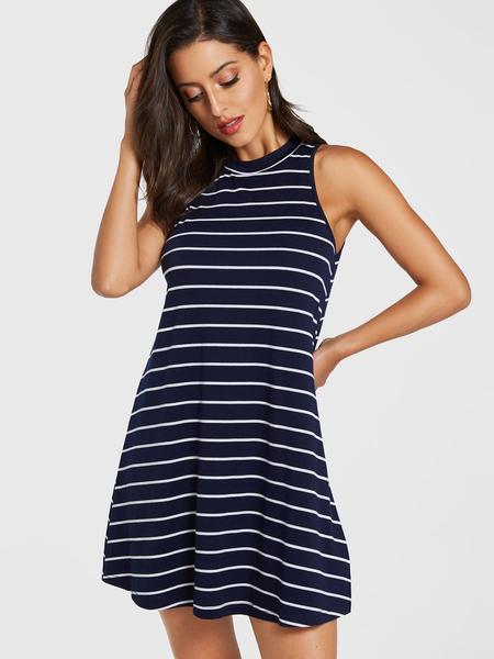 YOINS Navy Stripe Round Neck Sleeveless Dress