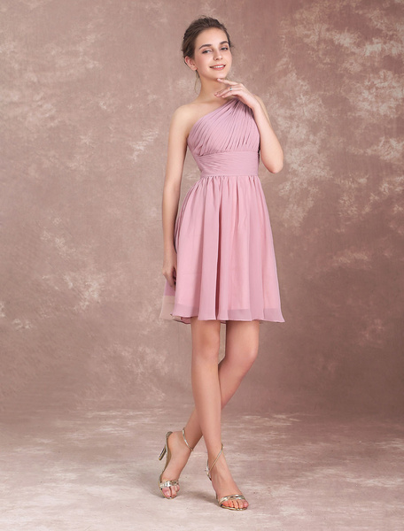 Milanoo Short Bridesmaid Dress Cameo Pink Chiffon Prom Dresses One Shoulder Twisted Pleated Party Dress