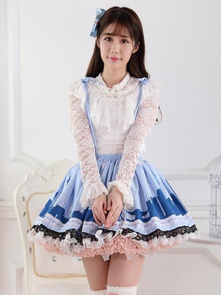 Milanoo Faldas de encaje poliester azul fantastico Lolita